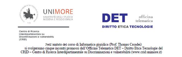 Ciclo di incontri promossi dall'Officina Telematica DET