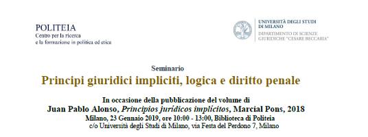 Principi giuridici impliciti, logica e diritto penale